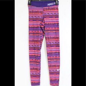 NIKE DRI-FIT Purple & Pink Training Leggings-Small